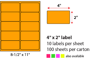 "4 X 2"" SHEETED LABELS - NEON ORANGE"