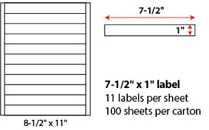 "7 1/2 X 1"" SHEETED LABELS"