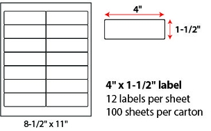 "4 X 1 1/2"" SHEETED LABELS"