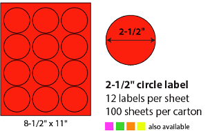 "2 1/2"" SHEETED CIRCLE LABELS - NEON RED"
