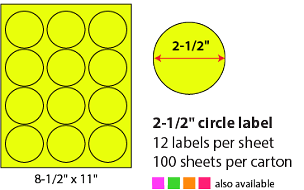 "2 1/2"" SHEETED CIRCLE LABELS - NEON YELLOW"