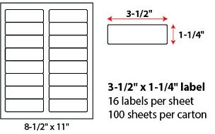 "3 1/2 X 1 1/4"" SHEETED LABELS"