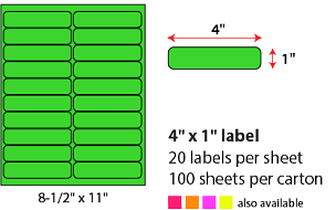 "4 X 1"" SHEETED LABELS - NEON GREEN"