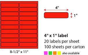 "4 X 1"" SHEETED LABELS - NEON RED"