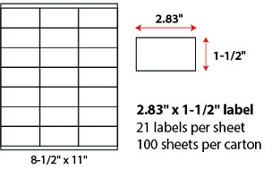 "2.83 X 1 1/2"" SHEETED LABELS"