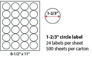 "1 2/3"" SHEETED CIRCLE LABELS"
