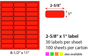 "2 5/8 X 1"" SHEETED LABELS - NEON RED"