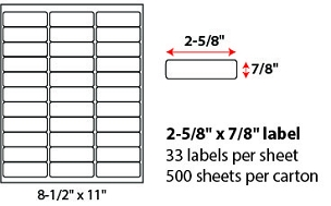 "2 5/8 X 7/8"" SHEETED LABELS"