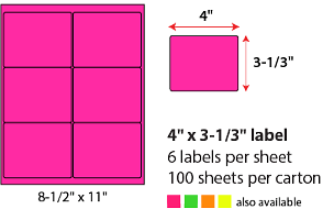"4 X 3 1/3"" SHEETED LABELS - NEON PINK"