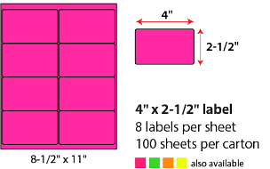 "4 X 2 1/2"" SHEETED LABELS - NEON PINK"