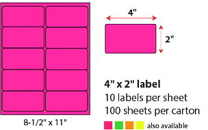 "4 X 2"" SHEETED LABELS - NEON PINK"