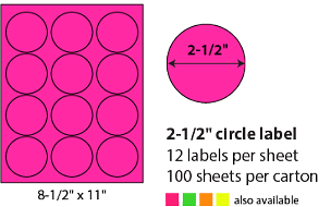 "2 1/2"" SHEETED CIRCLE LABELS - NEON PINK"