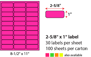"2 5/8 X 1"" SHEETED LABELS - NEON PINK"