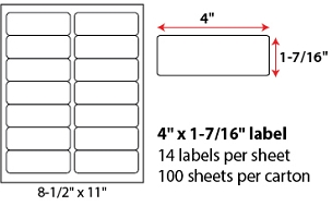 "4 X 1 7/16"" SHEETED LABELS"