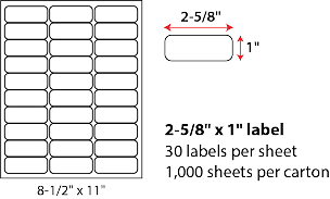"2 5/8 X 1"" SHEETED LABELS"