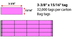 "3 3/8 X 15/16"" BAG TAG - CHERRY"