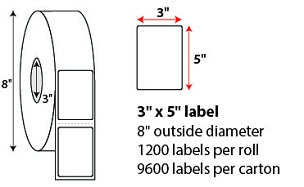 "3 X 5"" DIRECT THERMAL LABELS"