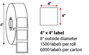 "4 X 4"" DIRECT THERMAL LABELS"