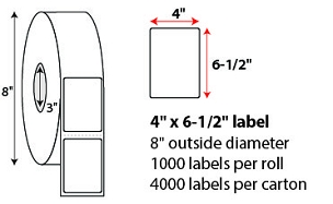 "4 X 6 1/2"" DIRECT THERMAL LABELS"