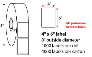 "4 X 6"" DIRECT THERMAL LABELS - NO PERF"