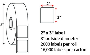 "2 X 3"" DIRECT THERMAL LABELS"