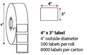 "4 X 3"" DIRECT THERMAL LABELS"