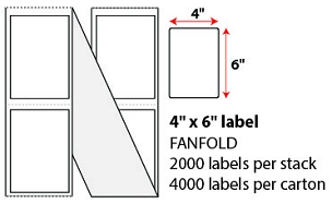 "4 X 6"" DIRECT THERMAL LABELS - FANFOLD"