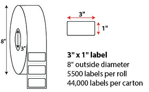 3x1 Inch Thermal Transfer Labels