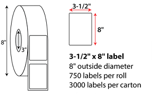 3.5x8 Inch Thermal Transfer Labels