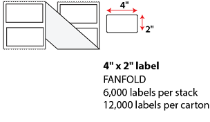 "4 X 2"" THERMAL TRANSFER LABELS - FANFOLD"