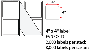 "4 X 4"" THERMAL TRANSFER LABELS - FANFOLD"