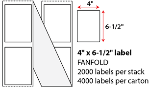 "4 X 6 1/2"" THERMAL TRANSFER LABELS - FANFOLD"