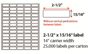 "2 1/2 X 15/16"" PINFEED LABELS"