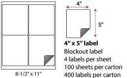 4x5 Inch Laser Inkjet Blockout Labels