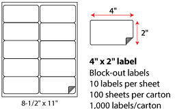 4x2 Inch Laser Inkjet Blockout Labels