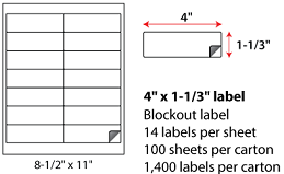 4x1.333 Inch Laser Inkjet Blockout Labels