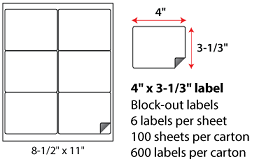 4x3.333 Inch Laser Inkjet Blockout Labels