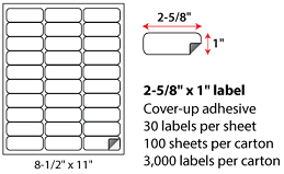 2.625x1 Inch Laser Inkjet Blockout Labels