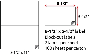 "8 1/2 X 5 1/2"" SHEETED BLOCK-OUT LABELS"