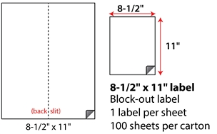 "8 1/2 X 11"" SHEETED BLOCK-OUT LABELS"