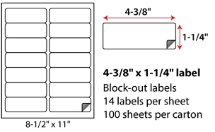 "4 3/8 X 1 1/4"" SHEETED BLOCK-OUT LABELS"