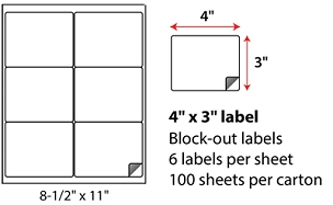 "4 X 3"" SHEETED BLOCK-OUT LABELS"