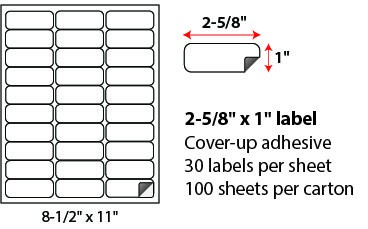 2 625 X 1 Block Out Cover Up Labels Sheets