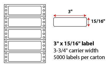 3x.9375 Inch Pinfeed Labels