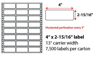 4x2.9375 Inch Pinfeed Labels