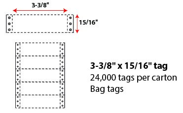 "3 3/8 X 15/16"" BAG TAG - WHITE"