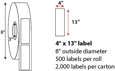4x13 Inch Thermal Transfer Labels